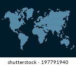 world map dotted on dark... | Shutterstock .eps vector #197791940