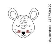 cute adorable mouse in doodle... | Shutterstock .eps vector #1977936620
