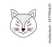 cute adorable cat in doodle... | Shutterstock .eps vector #1977991619