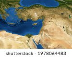 Middle East map in global satellite photo, flat view of part of world from space. Detailed physical map of Turkey, Syria, Israel, Lebanon, Egypt, Jordan. Elements of this image furnished by NASA.