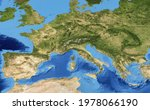 Europe flat view from space, detailed map on global satellite photo. European part of physical world map with texture surface. Green terrain and blue seas. Elements of this image furnished by NASA.