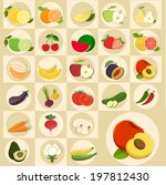 fruits vector set | Shutterstock .eps vector #197812430