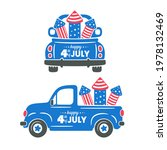4th of july. a truck carrying...   Shutterstock .eps vector #1978132469