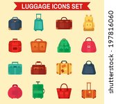 luggage icons set flat colorful | Shutterstock .eps vector #197816060