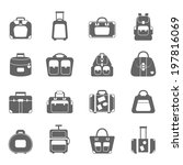 luggage icons set grey | Shutterstock .eps vector #197816069
