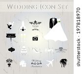 wedding icons set.  | Shutterstock .eps vector #197818970