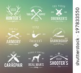 Vintage Labels or Logos With Retro Typography for Men's Hobbies Such as Hunting, Arms, Dog Breeding, Car Repair etc. on Abstract Background