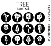 vector set of tree circle icons.... | Shutterstock .eps vector #197841968