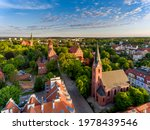 Evangelical Church, Warmia Chapter Castle and Garrison Church in Olsztyn - Aerial view of Olsztyn city
