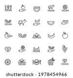 vegan line vector icons...