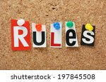 the word rules in cut out... | Shutterstock . vector #197845508