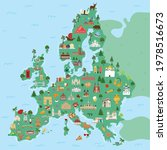 illustrated map of europe... | Shutterstock .eps vector #1978516673