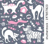 cats and dogs seamless pattern... | Shutterstock .eps vector #197857823