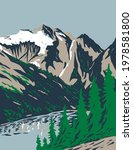 Summit of Mount Triumph in Cascade Range Located in Northern Cascades National Park in Washington WPA Poster Art