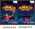 bungalow night party cartoon...   Shutterstock .eps vector #1978687979