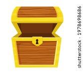wooden open empty chest in...