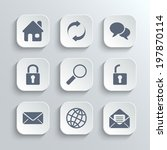 web icons set   vector white...