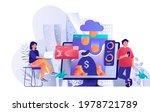 virtual finance concept in flat ...   Shutterstock .eps vector #1978721789