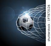 soccer ball in goal. vector | Shutterstock .eps vector #197873126