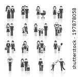 family figures icons set of... | Shutterstock . vector #197878058