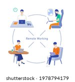 people doing remote work and... | Shutterstock . vector #1978794179