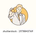 businessman show gold coin ... | Shutterstock .eps vector #1978843769