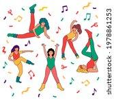 set with girls doing aerobic....   Shutterstock .eps vector #1978861253