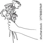 a hand with a rose bouquet  ... | Shutterstock .eps vector #1978883969