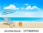seaside view with an umbrella ... | Shutterstock . vector #197888960
