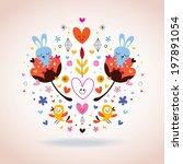flowers  bunnies  hearts   birds | Shutterstock .eps vector #197891054