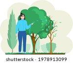 Girl Gardening Plant. Woman...