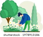 Girl Cultivating Plants On...