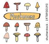 doodle set of autumn mushrooms. ... | Shutterstock .eps vector #1978930193