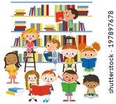children reading a book in a... | Shutterstock .eps vector #197897678