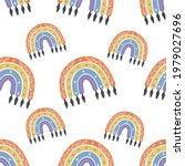 a boho rainbow. for fabrics ...   Shutterstock .eps vector #1979027696