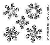 set of floral round vintage... | Shutterstock . vector #197904860