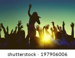 silhouettes of people at... | Shutterstock . vector #197906006