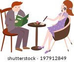 the view of couple at the table  | Shutterstock .eps vector #197912849