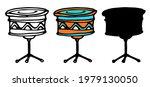 Vector Drum On A Tripod. A Set...