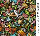 cartoon doodles summer seamless ... | Shutterstock .eps vector #1979143139