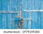 Wooden Background. Old Blue...