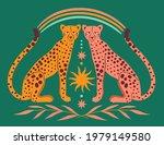 cute leopards  sun  rainbow ... | Shutterstock .eps vector #1979149580