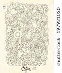 coffee doodles sketch. coffee... | Shutterstock .eps vector #197921030