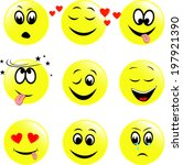 set of  smiley faces expressing ... | Shutterstock .eps vector #197921390