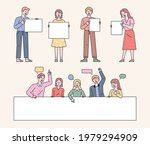 people are standing holding a...   Shutterstock .eps vector #1979294909