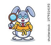 cute detective rabbit cartoon.... | Shutterstock .eps vector #1979314193