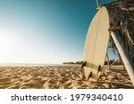 Surfboard On Beach. Seascape Of ...