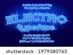 electro alphabet font. electric ... | Shutterstock .eps vector #1979380763