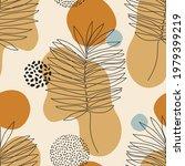 modern one line art palm leaves ... | Shutterstock .eps vector #1979399219