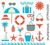 summer and sea related icons... | Shutterstock .eps vector #197941040
